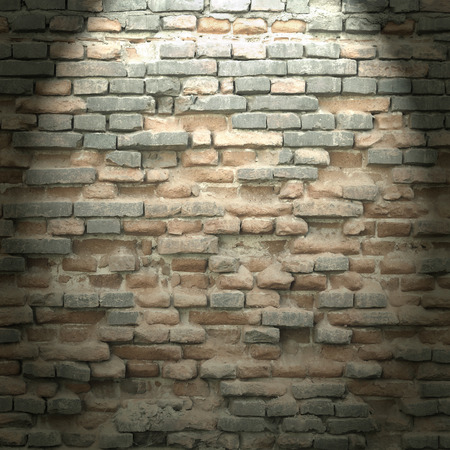 basement: brick wall texture background in basement with beam of light Stock Photo