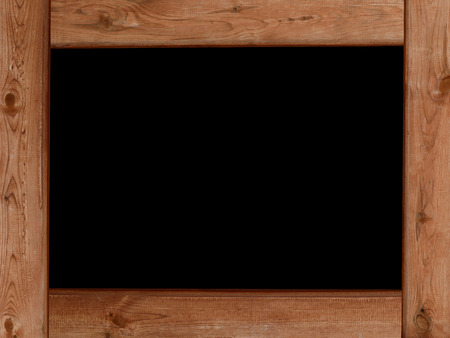 blackboard background and wood planks frame border as design element photo