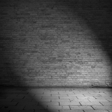 spotlight white background: brick wall texture background abandoned house interior black and white illustration
