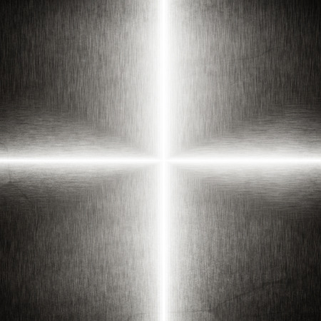 cross light: iron plate abstract background cross made of beams of light Stock Photo