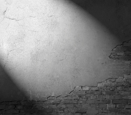 plastered wall texture background, black and white background with beam of spot light