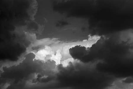 meteorology: black and white abstract background storm clouds Stock Photo