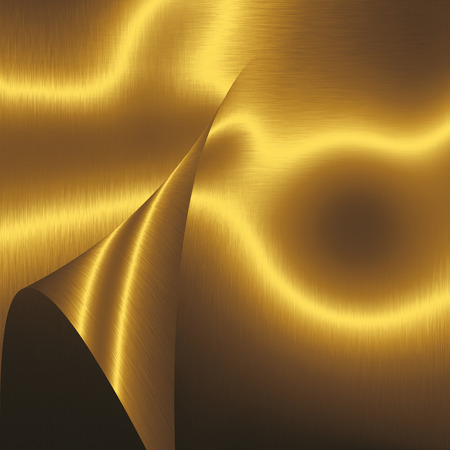 shiny metal background: shiny gold metal background texture folded metal plate abstract shapes Stock Photo