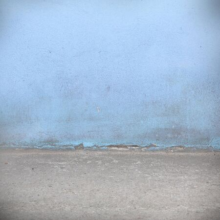 blue wall: blue wall texture and gray concrete floor grunge background Stock Photo