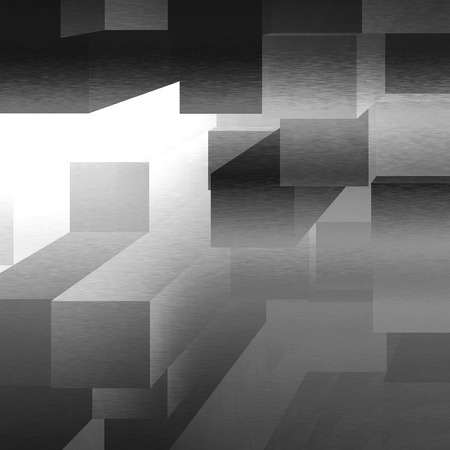 black metal: black and white background 3d cubes pattern Stock Photo