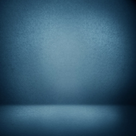 photo backdrop: blue abstract interior background suede paper texture, empty photo studio room wall and floor