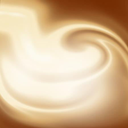 広告デザインの渦巻き模様のベージュの牛乳とコーヒーの背景、クリームやホワイト チョコレート