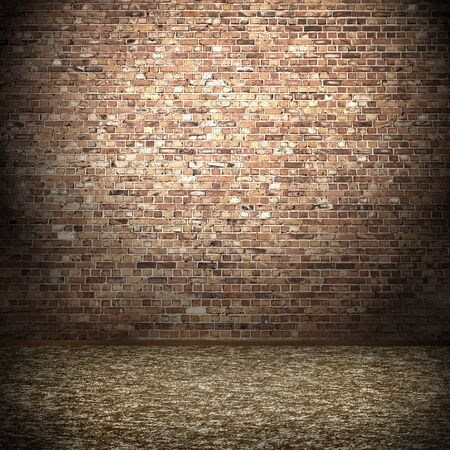 red brick: brick wall and carpet floor, empty room interior background and spot light Stock Photo