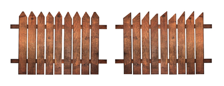 picket fence: wooden planks fences isolated on white background, graphic design elements