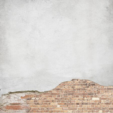 plastered brick wall background texture, damaged plaster wall