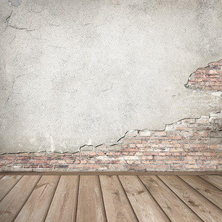 plastered brick wall and wood interior background texture Stockfoto