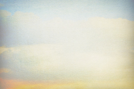 old canvas paper texture background, blue sky and white clouds vintage painting and white copy space for text