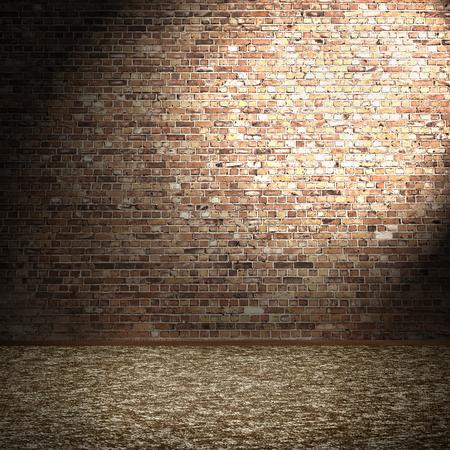 ladrillo: pared de ladrillo y piso de alfombra, cuarto vacío interior fondo y la luz de punto en la corneta Foto de archivo