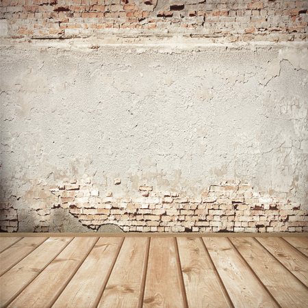 urban background, red brick wall texture bright plastered wall and wooden floor  abandoned interior grunge background for your concept or project