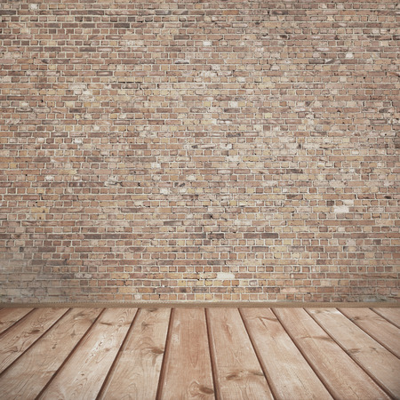 old texture: urban background, brick wall texture and wooden floor abandoned interior grunge background for your concept or project Stock Photo