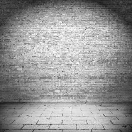 grunge background, brick wall texture pavement tiled floor as exterior urban background for your own concept or project Stock Photo