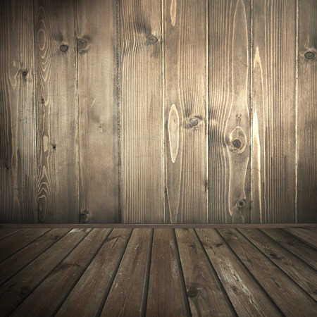 western: old wood interior background, barn wood texture background wall and tiled floor in brown color