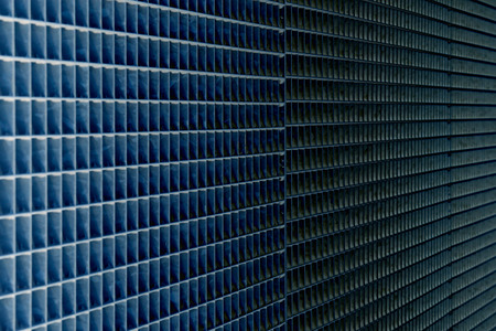 blue abstract background industrial mesh pattern texture, shallow depth of field
