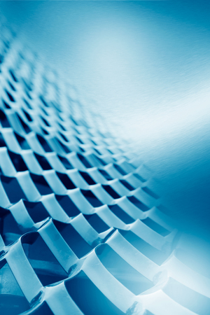 industrial decor: blue abstract background decorative metal mesh element and metal texture, may use as business card template or to corporate brochure project design Stock Photo