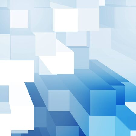 squares background: white and blue abstract cubes background pattern, futuristic background Stock Photo