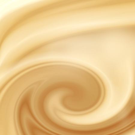 tomando leche: amarillento fondo remolino abstracto, crema, chocolate blanco o con leche y café fondo de satén Foto de archivo