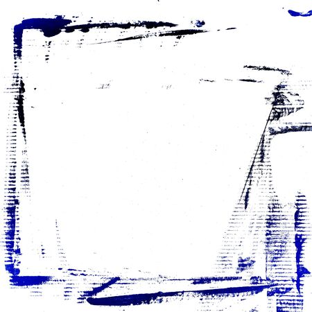 weathered: blue watercolor brush strokes frame painted on white background cardboard Stock Photo
