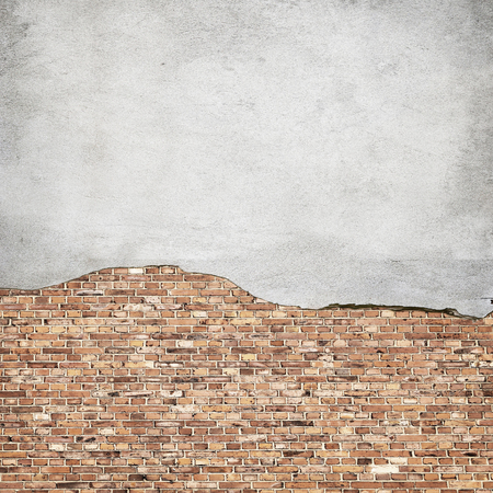 ruined house: concrete and brick wall texture urban background Stock Photo