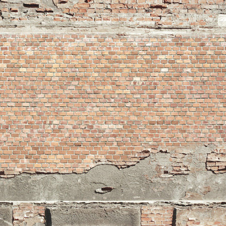 ruined house: red brick wall texture urban background Stock Photo