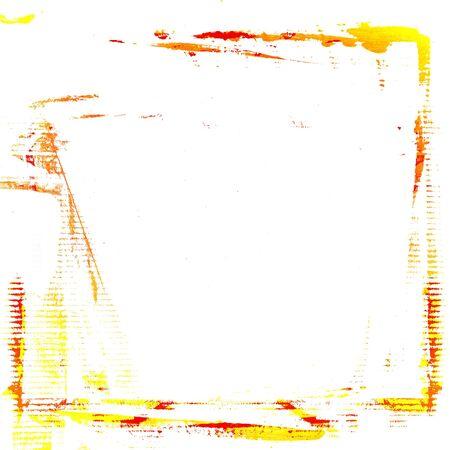 aquarel frame rode en gele verf penseelstreken op een witte muur papier achtergrond