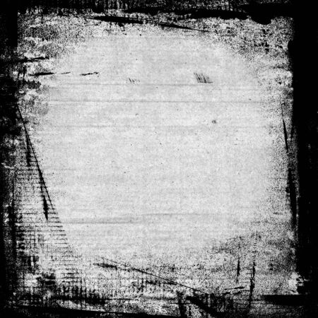 Aquarell-schwarzer Farbe Pinselstriche Rahmen auf weiße Wand Hintergrund Papier Standard-Bild - 50017022