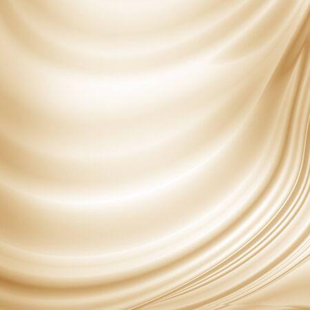 beige gordijn achtergrond geweven satijn stof textuur, koffie latte kleur abstracte achtergrond Stockfoto