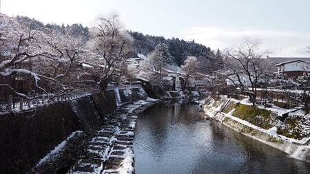 Scenery of Miyagawa river which pass through Takayama city. Takayama is one of a popular city in central Japan