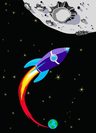 トゥザムーン ロケット宇宙船  イラスト・ベクター素材