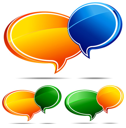gossiping:  Green & Blue Speech Bubbles Illustration