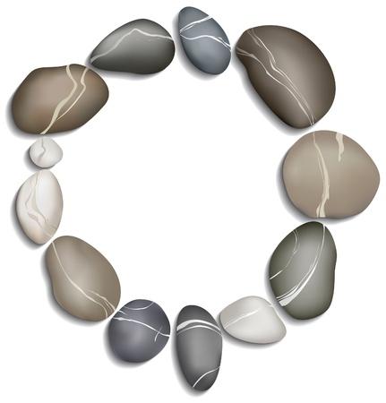 白い背景の上の 12 の小石の輪