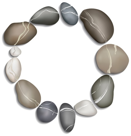Circle of twelve pebbles on a white background Vector