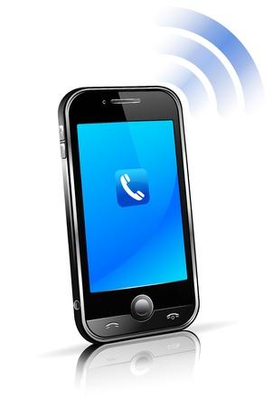 リフレクションを使用セル スマート携帯電話接続技術コンセプト