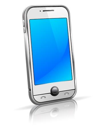 スタイリッシュな新しいスマート モバイル携帯白い背景の上