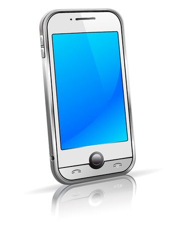 mobile communications: Stylish new cell smart mobile phone on a white background