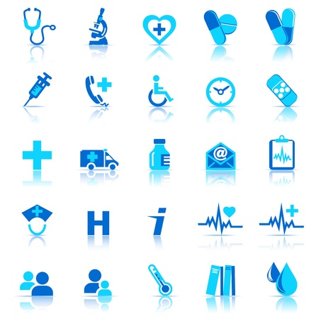 medical practice: Medical Icons with reflection Illustration