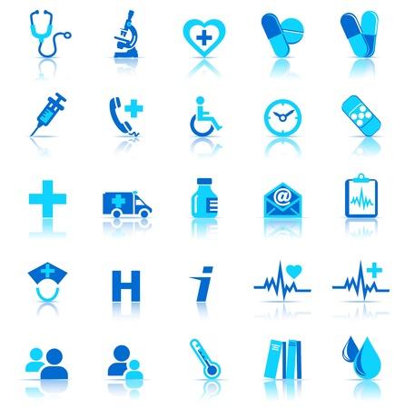 gezondheid: Medische pictogrammen met reflectie