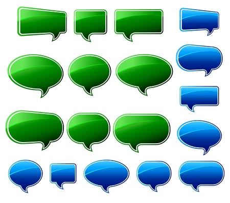 Speech Bubble 緑および青の光沢