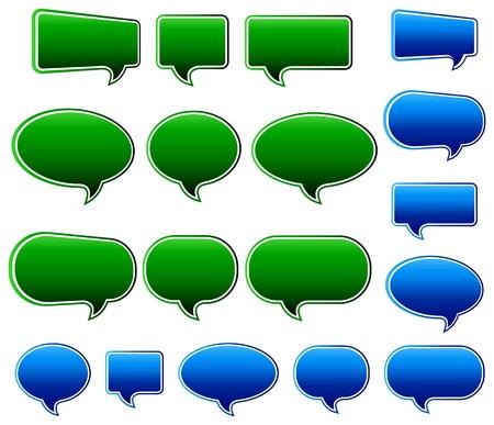 Speech Bubble Green and Blue Matt Stock Vector - 9335093