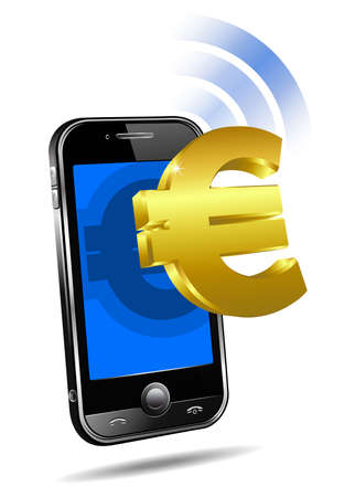 Pay by Mobile tariff, Cell Smart Phone concept Euro Illustration