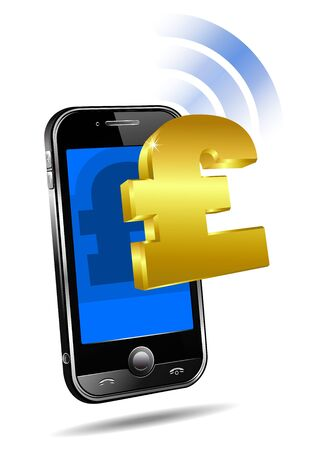 Pay by Mobile tariff, Cell Smart Phone concept Pound Vector