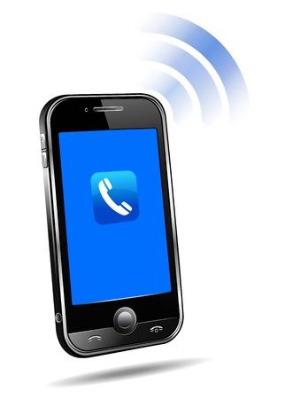 telecomunicaci�n: Conexi�n de tel�fono m�vil celular inteligente 3D