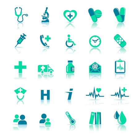 iconos medicos: Iconos de atenci�n de la salud en medicina verde
