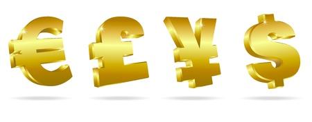 Golden Symbols for Money Stock Vector - 9340487