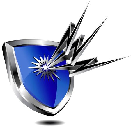 Shield Protection shown by lightning Stock Vector - 9340484