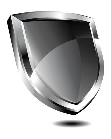 銀シールド  イラスト・ベクター素材